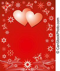 bakgrund, vektor, illustration., valentinbrev
