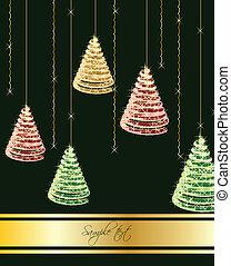 bakgrund., vektor, träd, grön, jul