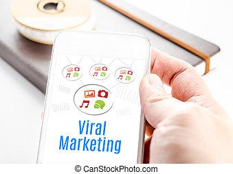 bakgrund, viral, ord, ikonen, mobil, marknadsföra, concept., uppe, hand, ringa, anteckningsbok, hålla nära, teknologi, smart