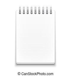 bakgrund., vit, anteckningsbok, spiral, tom