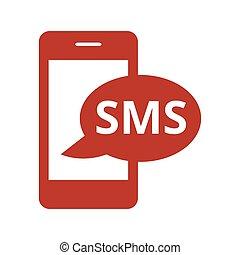bakgrund., vit, sms, ikon
