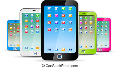 bakgrund, vit, touchphones
