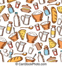 Baking and cooking ingredients seamless pattern