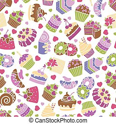 Baking and desserts seamless pattern background