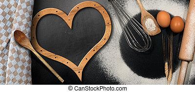 Baking Background with Empty Blackboard - Baking background...