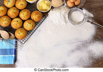 Baking background with ingredients