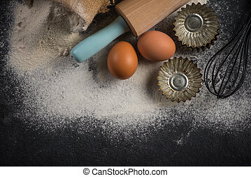 Baking background with ingredients from above