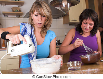 Baking cakes together