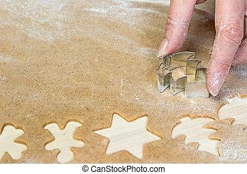 Baking Christmas cookies closeup
