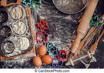 Baking concept on dark background