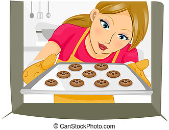 Baking Cookies - Girl baking Cookies with Clipping Path