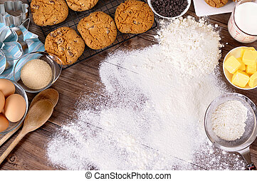 Baking cookies with ingredients