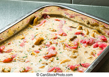Baking dish with meat