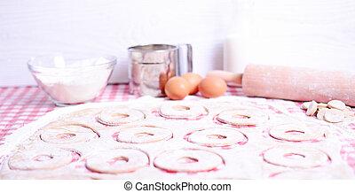 Baking donuts in kichen
