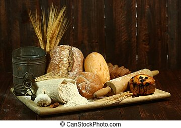 Baking Fresh Baked Bread - Fresh Baked Bread on Wooden...