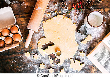 Baking gingerbread cookies at Christmas time.