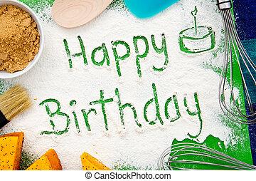 Baking - Happy Birthday - with cake