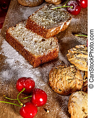 Baking homemade cake Oatmeal cookies snack and cherry ...