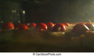 Baking homemade pizza in the oven