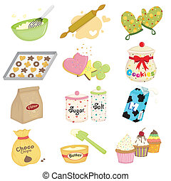 Baking icons - A vector illustration of baking and kitchen ...