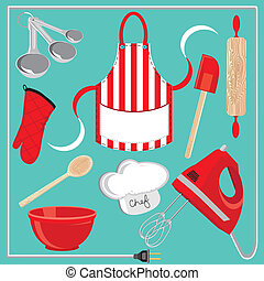 Baking icons and elements - Cute selection of baking...
