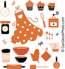 Baking icons or accessories set isolated on white ( orange )