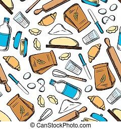 Baking ingredients and utensil pattern