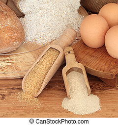 Baking Ingredients - Baking ingredients of wholegrain flour...