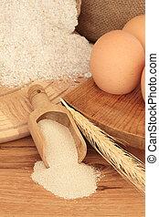 Baking Ingredients - Baking ingredients of wholegrain flour...