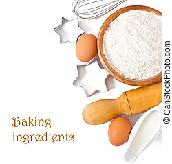 Baking ingredients closeup