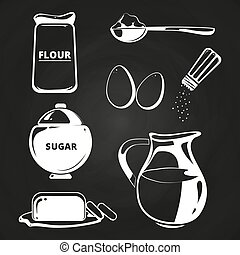 Baking ingredients collection on chalkboard