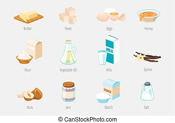 Baking ingredients in cartoon style. Set of vector food icons