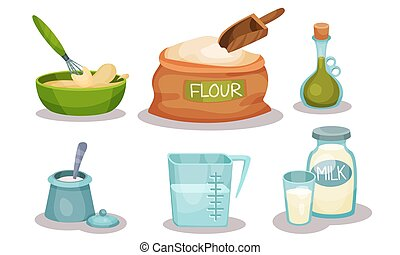 Baking Ingredients In Cartoon Style. Set Of Vector Food Icons.