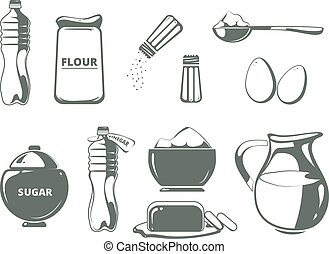 Baking ingredients monochrome vector set