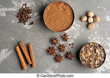 Baking ingredients on concrete background. Flat lay