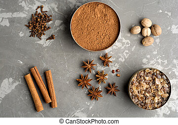 Baking ingredients on concrete background. Flat lay