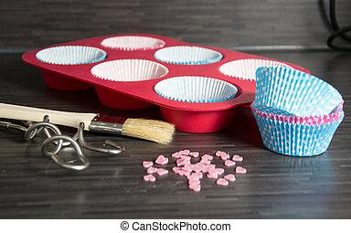 baking ingredients on dark