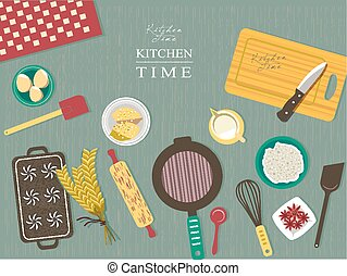 baking ingredients on kitchen table in flat design