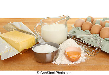 Baking ingredients on worktop - Baking ingredients,...