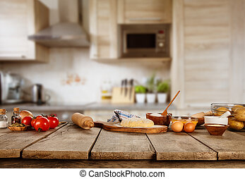 Superbe Baking Ingredients Placed On Wooden Table