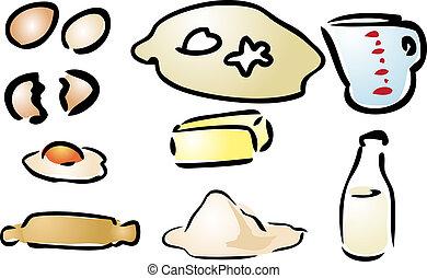 Baking ingredients various cooking preparation illustration...
