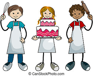 Baking Kids with Clipping Path