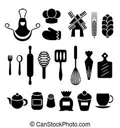 Baking kitchen tools silhouettes set