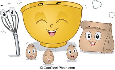 Baking Mascots - Mascot Illustration Featuring Eggs, an Egg...