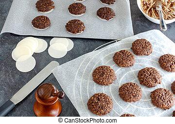 Baking Nuremberger Lebkuchen, Gingerbread. A baking tray...