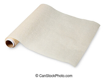 Baking paper, parchment food, is used for cooking and food storage. Thin paper made from pulp mill greasy. No body. The isolated image on a white background.