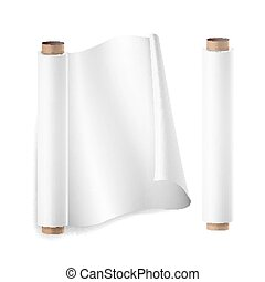 Baking Paper Roll Vector. Close Up Top View. Opened And...