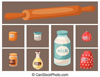 Baking pastry prepare cooking ingredients kitchen cards utensils homemade food preparation baker vector illustration.