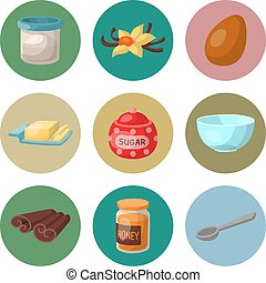 Baking pastry prepare cooking ingredients kitchen utensils homemade food preparation baker vector illustration.