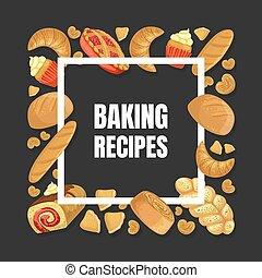 Baking Recipes Banner Template, Culinary, Class, School Design Element Vector Illustration